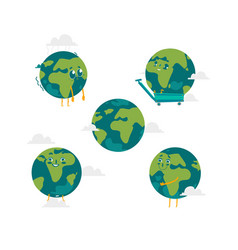 cartoon flat globe character set isolated vector image