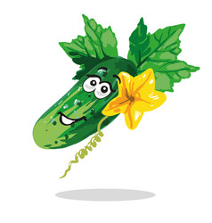 Cucumber cartoon character with flower and leaves vector