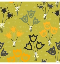 Cute seamless floral pattern with tulips on green vector image