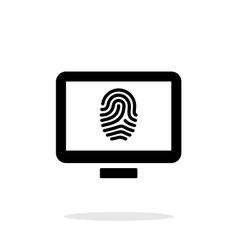 Desktop fingerprint icon on white background vector