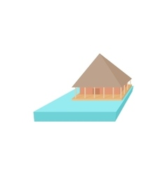 Floating house icon cartoon style vector