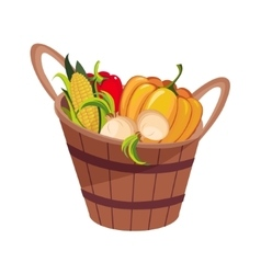 Fresh vegetables harvest set in wooden bucket vector