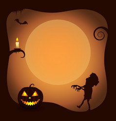 halloween poster background with zombie silhouette vector image