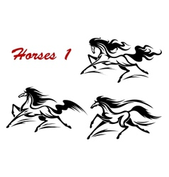 Horse stallions mascots and tattoos vector