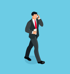 isometric businessman isolated on blue background vector image