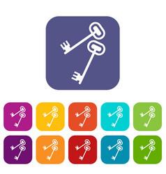 Keys icons set vector