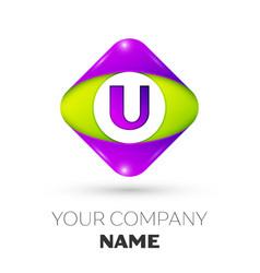 Letter u logo symbol in colorful rhombus vector