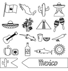 Mexico country theme symbols outline icons set vector