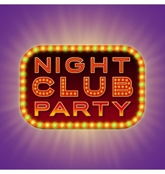 Night club party 3d retro light banner with bulbs vector