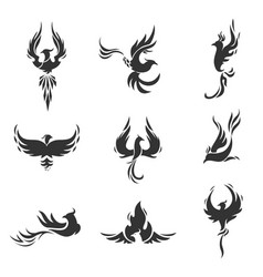 Phoenix bird stylized icons on white background vector