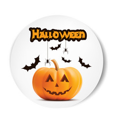 pumpkin smiling halloween white sticker vector image vector image