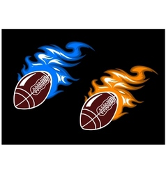 Rugby balls with colored fire flames vector