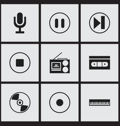 Set of 9 editable sound icons includes symbols vector