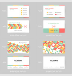 set of modern and clean pastel business card vector image vector image