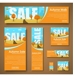 set of web banners with autumn landscape for sale vector image vector image
