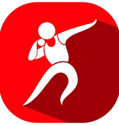 Shot put icon on red background vector image