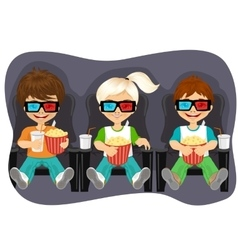 Smiling kids with popcorn watching 3D movie vector image