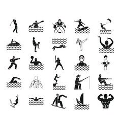 sportsman icon set simple style vector image