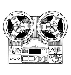 tape recorder engraving style vector image