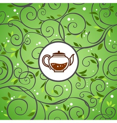 template with tea kettle vector image