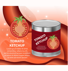 Tomato ketchup tomato paste in a tin can 3d vector