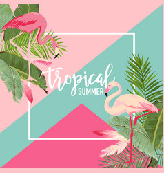 tropical flowers and flamingo summer banner vector image vector image