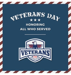 Veterans Day Background and Emblem Logo vector image
