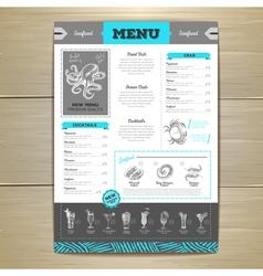 Vintage seafood menu design vector image