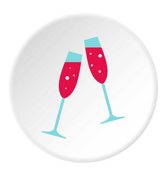 Wedding glasses icon circle vector