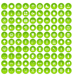 100 wellness icons set green circle vector