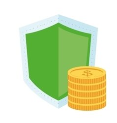 Shield and coins icon vector