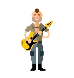 Rock Guitarist Flat style colorful Cartoon vector image