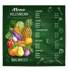 Vegetarian food restaurant menu on chalkboard vector image