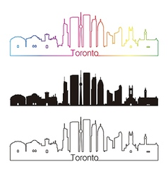 Toronto v2 skyline linear style with rainbow vector