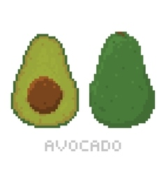 Pixel art game style avocado isolated vector