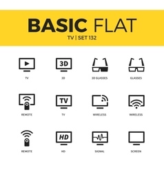 Basic set of tv icons vector