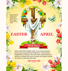 Easter crucifix cross and paschal wreath vector