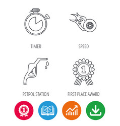 winner award petrol station and speed icons vector image