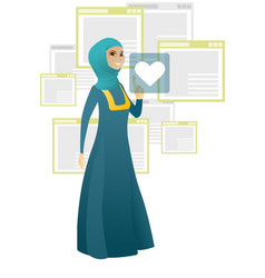 Business woman pressing web button with heart vector