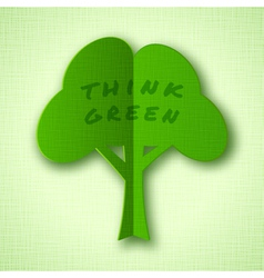 Stylized green paper tree with shadow vector