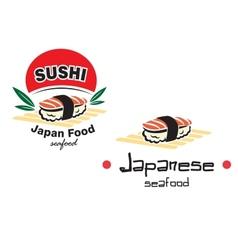 Japanese sushi seafood emblem vector image