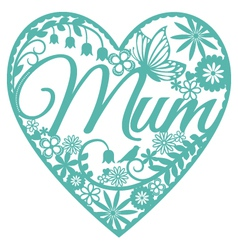 Mum papercut heart blue on white vector