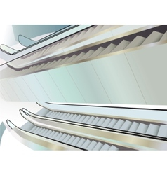 Many escalators indoor view from above vector