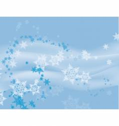 Flurry of snowflakes on blue vector