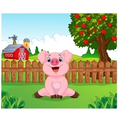 Cartoon adorable baby pig on the farm vector