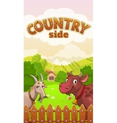 Cartoon countryside landscape with cow and goat vector