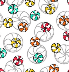 Seamless doodle pattern with bright candy handmade vector