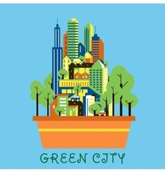 Green city eco concept with modern urban landscape vector
