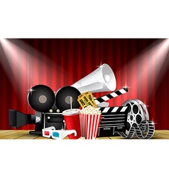 Red curtain cinemas films on the stage vector