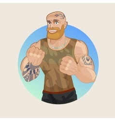 Strong man fighter fist vector